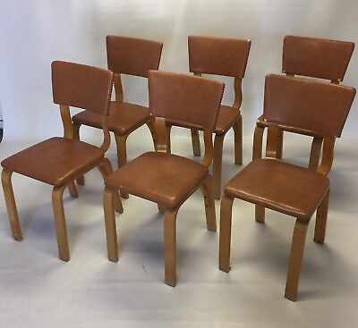 Set Of 6 1940's Thonet Bentwood Dining Chairs Mid Century