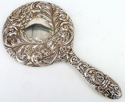 SILVER MOUNTED LADIES MIRROR 1990 HALLMARKED STERLING BY W I BROADWAY & Co.