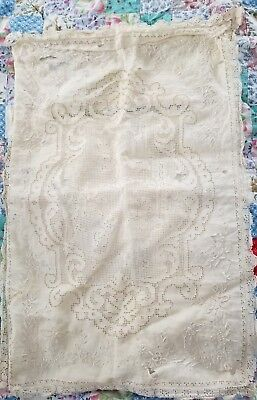 Antique Pillow Case Lace Pillowcase Cover Boudoir Angels Cutwork Embroidered