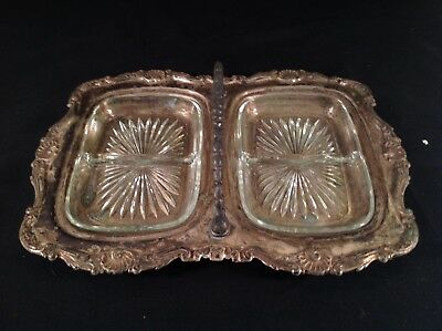 Vintage Sheridan Silverplate  Divided Serving Tray With Handle And Glass Inserts