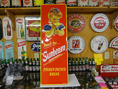 Sunbeam Bread Embossed Reissue Sign Beautiful 14X42 Inch Beautiful Colors