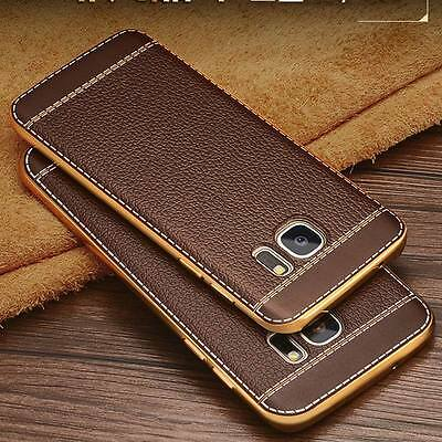 For Samsung Galaxy S8 S7 S9 Note 9 Luxury Thin Soft Rubber Leather Case Cover