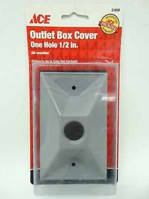 """NEW Ace 31658 Grey Single Gang One 1/2"""" Hole All Weather Outlet Box Cover"""