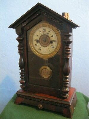 Vintage/antique Wood Cased Glazed Mantel Or Shelf Clock For Parts Or Repair Only