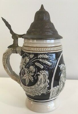 Western Germany Beer Stein Cobalt Blue 8""
