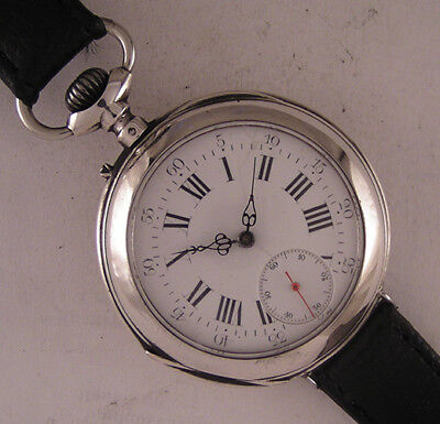 Lovely ALL Original 1900 Antique Swiss Gent's HEAVY Silver Wrist Watch Perfect
