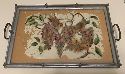 Gorgeous Beautifully Colored Antique Rectangular Display Tray Metal Glass Wood