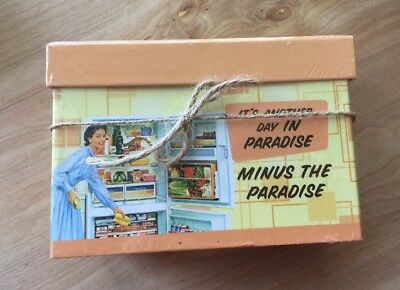 "NEW Vintage Style Recipe Holder Box ""It's Another Day In Paradise"""