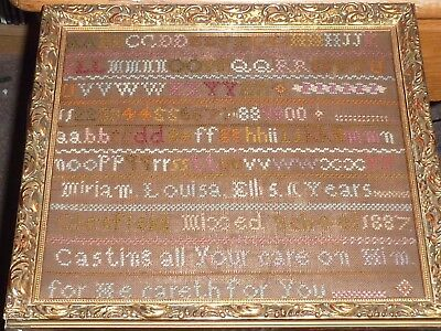 Antique 1887 Sampler Miriam Louisa Ellis 11 Yrs Glenfield Mixed School Needlewo
