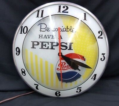 Vintage Mint Be Sociable Have Pepsi Round Double Bubble Electric Wall Clock