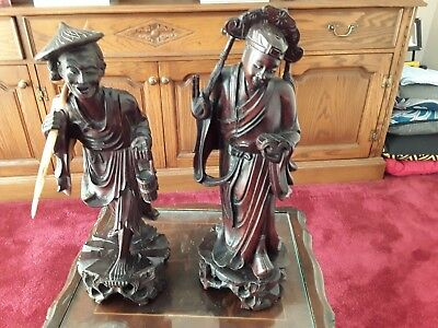 Stunning antique oriental caved wood figures