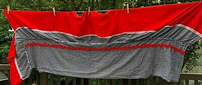 vintage red black plaid bedspread coverlet thin country western style