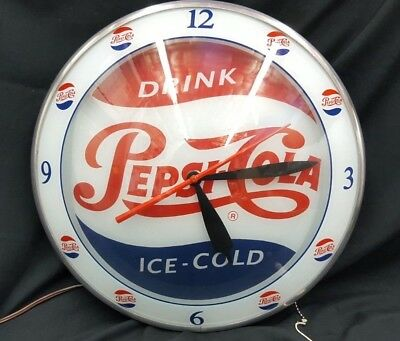 Reproduction Drink Pepsi Cola Ice Cold Round Double Bubble Electric Wall Clock