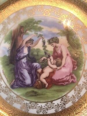 Angelica Kauffman antique decorative plate 22k gold details