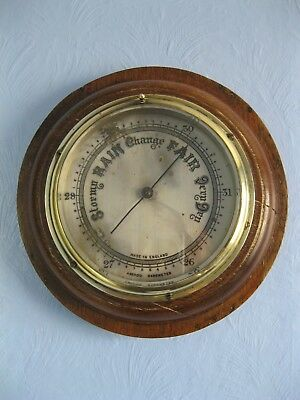 Large Heavy Antique English Made Aneroid Barometer, Wood And Brass Case.