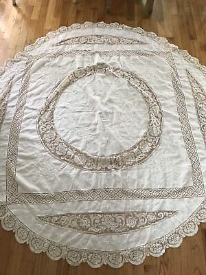 Vintage Antique Filet Crochet Net Lace Roses Linen White Embroidered Tablecloth