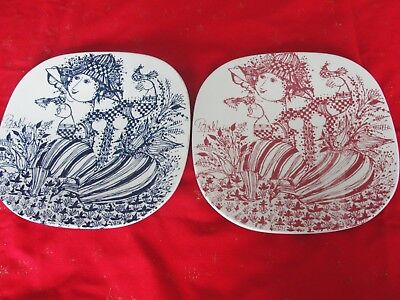 Bjorn Wiinblad Sophie With Bird Or Louise With Cat Plate
