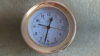 "Weems Plath brass marine clock, 5"" diameter 3"" high previously owned"