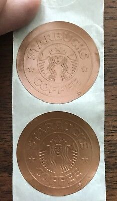 Rare Vintage Starbucks Logo Stickers (Lot of 3) - Hard to Find - Old logo Copper