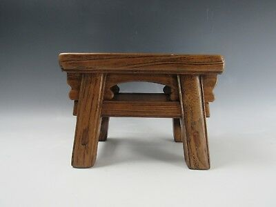 "A Chinese Antique style Hard Wood 4-Leg Stool chair 8""H"