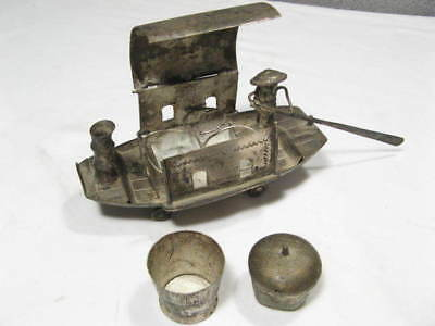 antique Condiment Spice Cruet Set: Silver? Chinese Junk Boat ~ Dinner Table ware