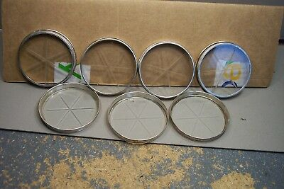 Vintage Sterling Silver And Cut Glass Coasters 7 Coasters , 3 inch