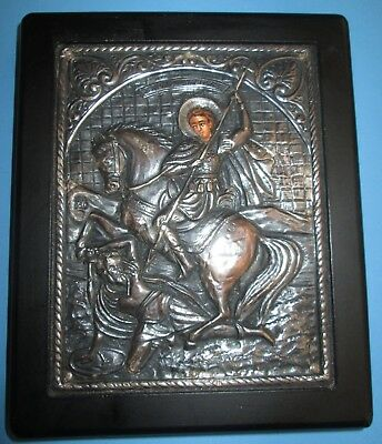 Vintage 950 Silver Greek Orthodox Icon of St. Demetrius- Plaque