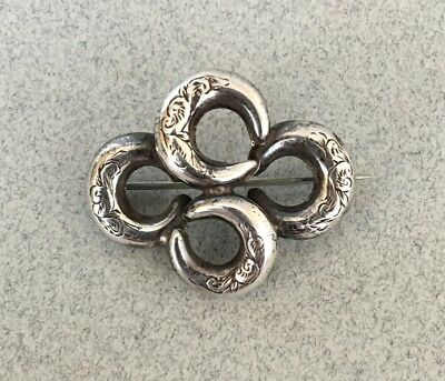 ANTIQUE VICTORIAN SILVER CRESCENT MOON KNOT BROOCH PIN sterling