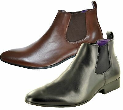 Mens Chelsea Boots High Top Gusset Synthetic Leather Shoes