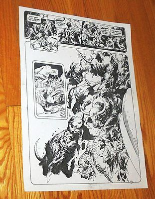 B&W Stat proof art 14.5 X 19 Joe Kubert Tor #2 Page 33 Marvel Epic Comics