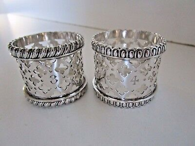 Pair Silver Plated Napkin Rings, Pierced Decoration, Circa 1910.