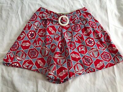 Vintage 1950s-1960s Women's Red White & Blue Nautical Shorts Skort Small/Medium