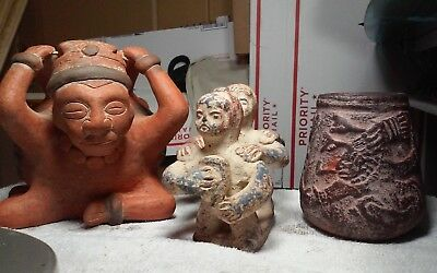 Unusual mexican folk art Mayan,Aztec jar,3 person sculpture and a warrior w/jar