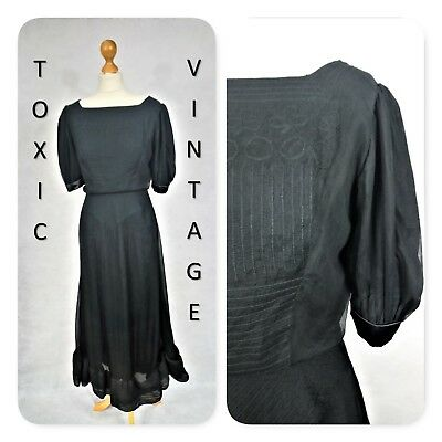 VINTAGE 1970's BLACK EMBROIDERED MAXI DRESS UK 10 ELEGANT CHIC GOTH PAGAN RETRO