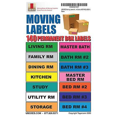 UBOXES Moving Labels Identify Moving Box Contents with 140 Labels, 4.5 x 1 Each