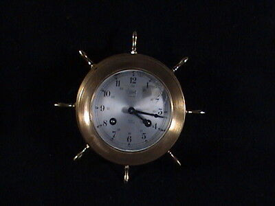 Vintage Schatz And Schone Ships Bell Clock Brass Ships Wheel Germany 8day 7jewel