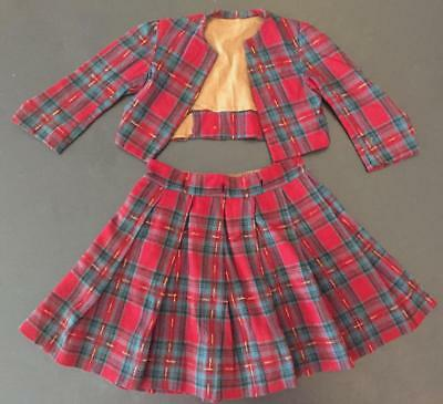 Antique Girl's Red Plaid Jacket & Pleated Skirt