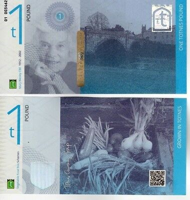 UK Local Currency Totnes One Pound Transitional £1 2014 Series UNC