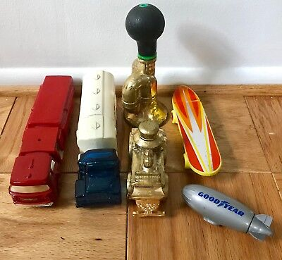 6 Vintage Glass & Plastic Decanter Bottles Lot Avon USA Skateboard Train Cars