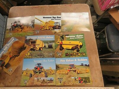 8 Vintage Vermeer, mower, bale chopper, rake, brochure lot