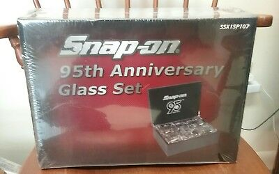Snap-On 95th Anniversary Glass Set In Case New Unopened Package