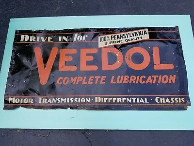 Rare 1920s Veedol Lubrication Metal Tin Sign Oil Gas Station Car Truck Bus Taxi