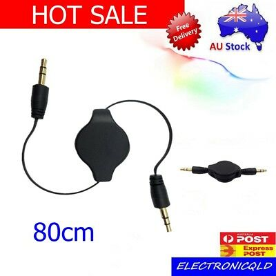 AUX Cable 3.5mm Stereo Retractable Audio Input Male Extension Auxiliary Car AU
