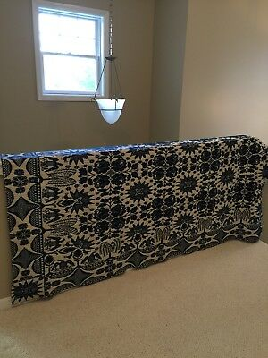 Exceptional Eagle-Tree Of Life-Birds-Floral-Stars, Etc. Motifs Wool Coverlet, Ex