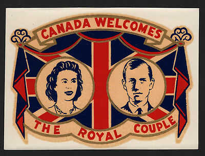 OPC 1951 Canada Welcomes the Royal Couple Queen Elizabeth II Prince Philip Decal