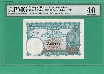 1940 Malaya/british Administration .25 Cents Pmg 40 Extremely Fine