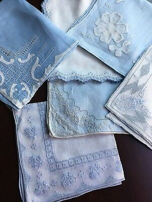 Vtg Lot 6 EXQUISITE  Hankies Blue White Delicate Hand Embroidery Drawnwork