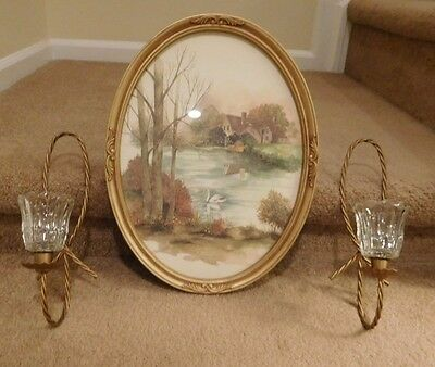 "LOT-3 VINTAGE 13""x17"" OVAL ENGLISH COTTAGE W/ LAKE SWAN & 2 CANDLE WALL SCONCES"