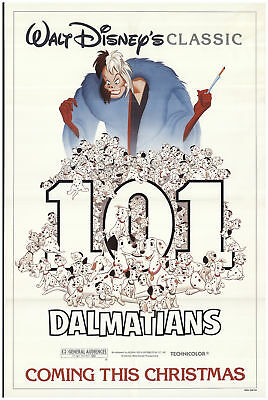 101 Dalmatians 1985 27x40 Orig Movie Poster FFF-70334 Rolled Rod Taylor