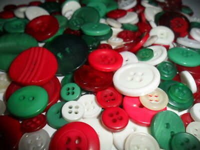 100 Bulk Christmas Mix Buttons Red Green White Assort Shapes Sizes 8~30mm